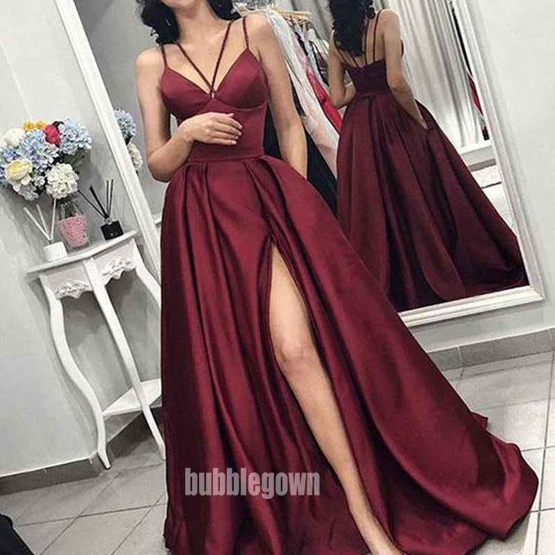 Elegant Burgundy V-neck Split Side Long Prom Dresses FP1176