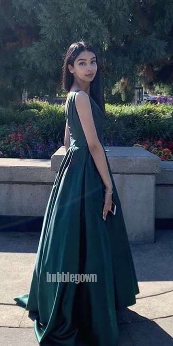 Simple Emerald V-neck Long Prom Dresses FP1177
