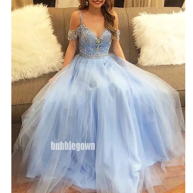Blue Sweetheart Delicate Beading Tulle Long Prom Dresses FP1179