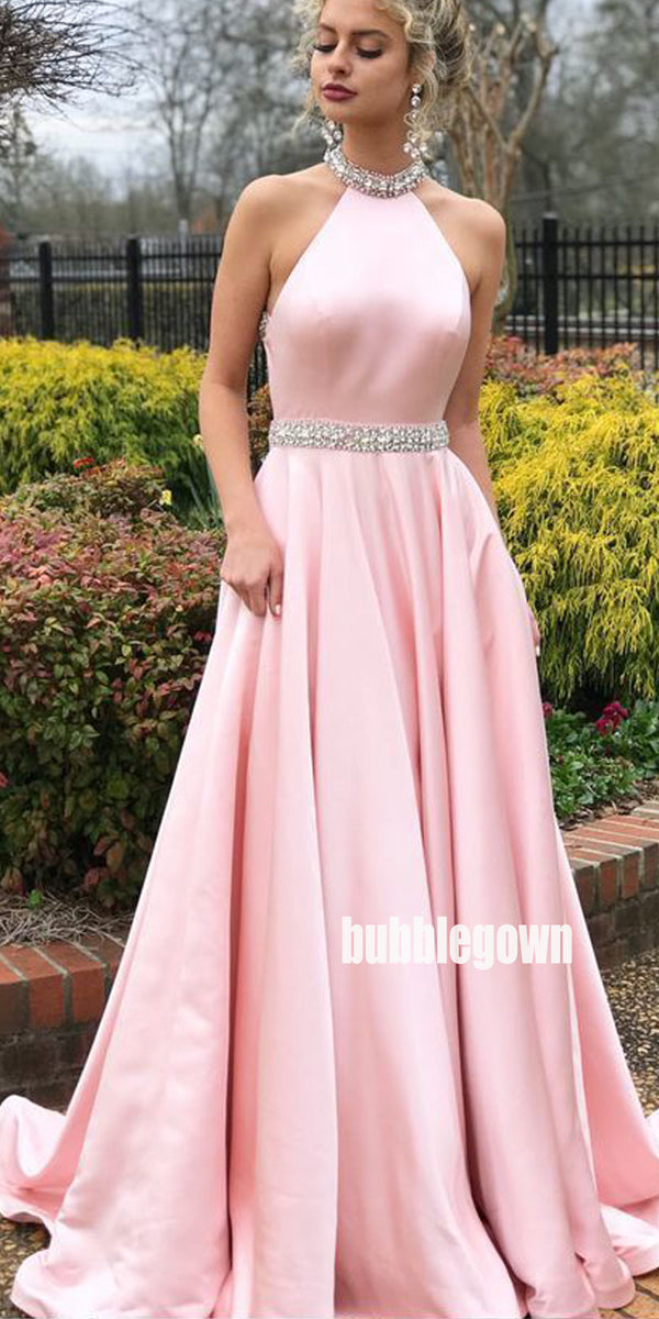 Beautiful Pink Halter Long Prom Dresses FP1180