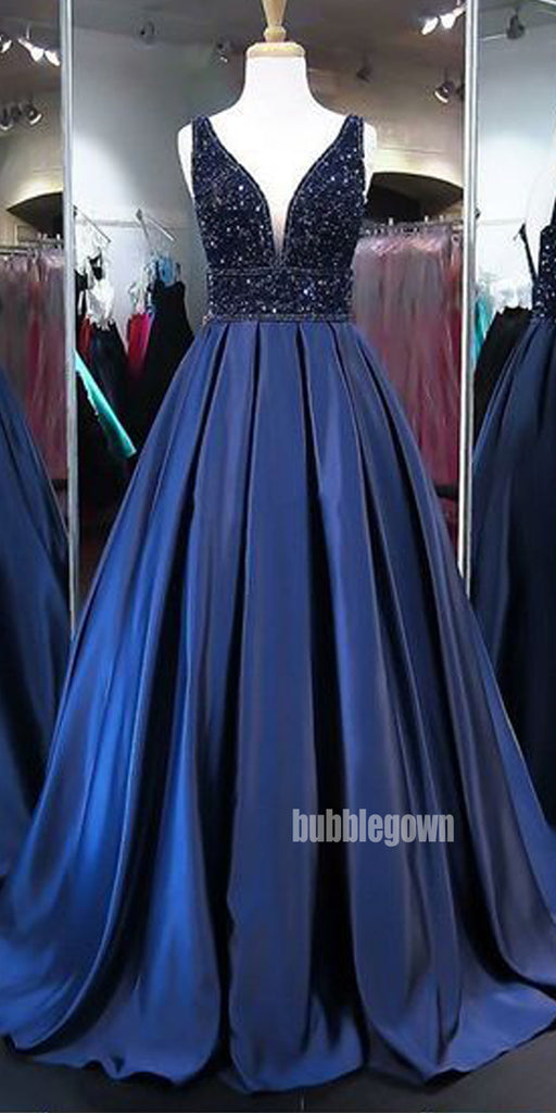 Elegant Dark Blue V-neck Beads Party Prom Dresses FP1182