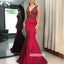 Elegant Red V-neck Mermaid Party Prom Dresses FP1183