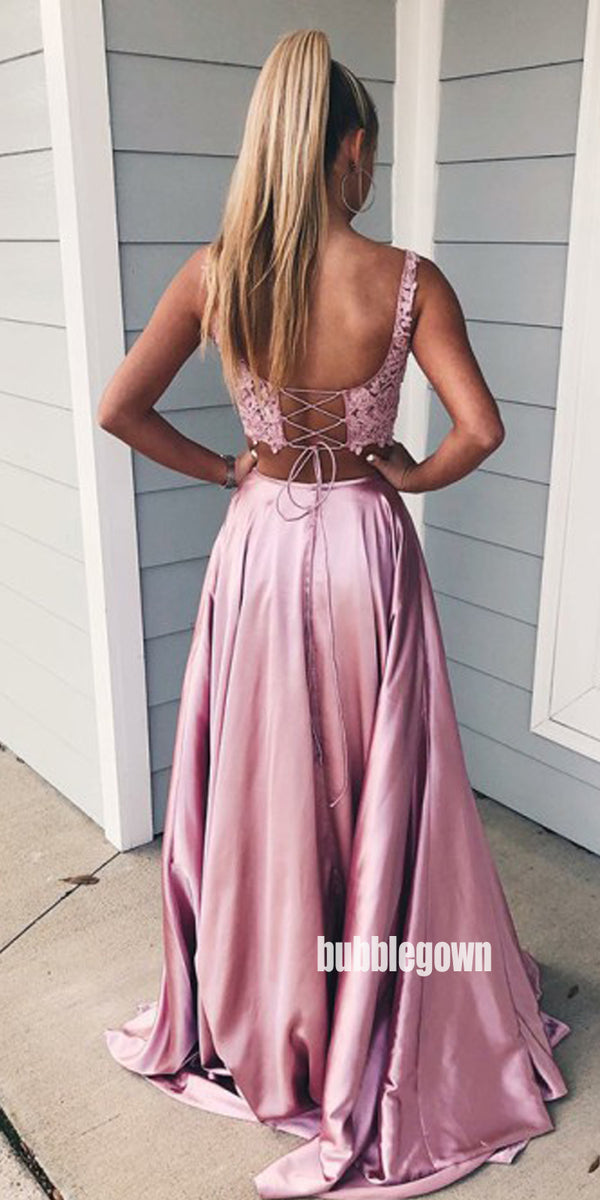 Two Pieces Pink Side Split Lace Top Party Prom Dresses FP1184