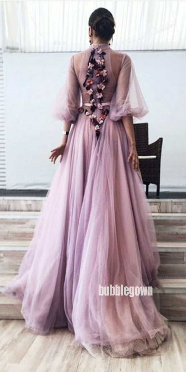 Charming Purple Floweral Tulle Party Prom Dresses FP1185