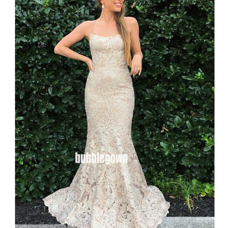 Charming Spaghetti Strap Lace Long Prom Dresses FP1186