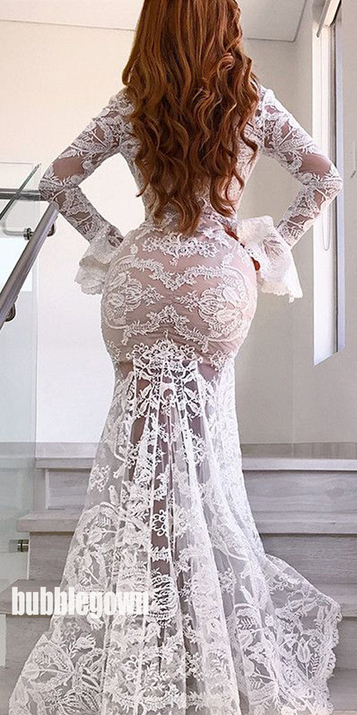Sexy White Lace Long Sleeves Mermaid Prom Dresses FP1188