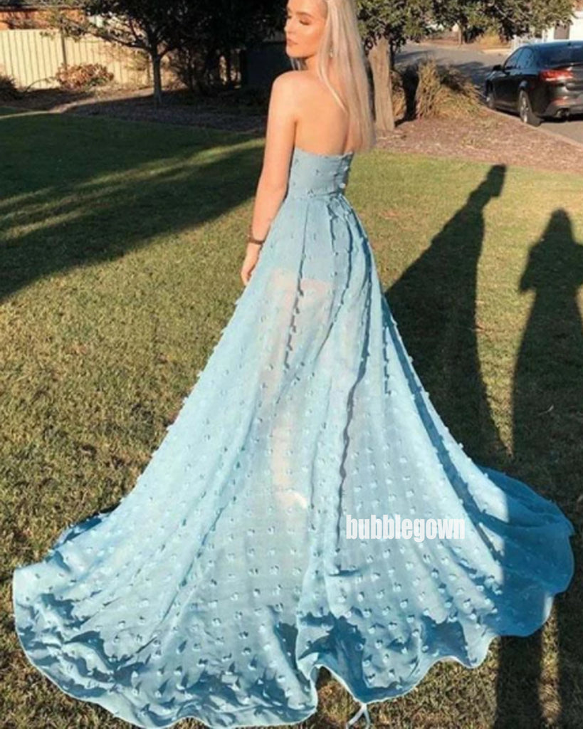 Sexy Blue Strapless Split Side Long Prom Dresses FP1190