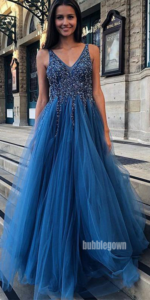 Dazzing Blue Stylish Tulle Formal Prom Dress FP1191