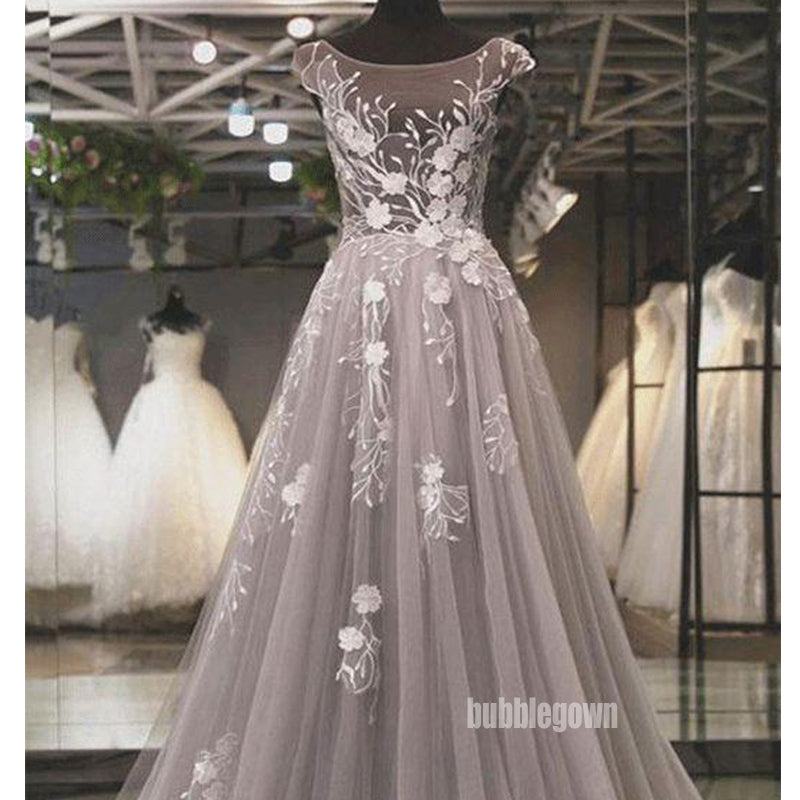Grey Jewel Neck Cap Sleeves A-line Prom Dress FP1192