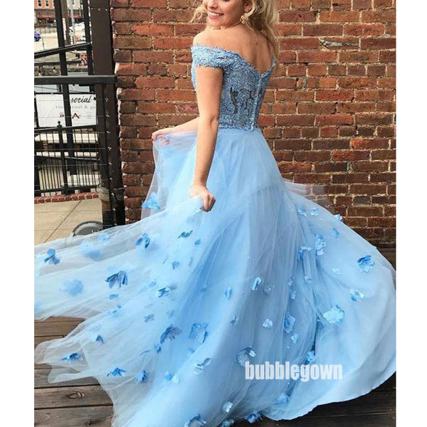 Blue Off Shoulder Lace Two Piece Long Prom Dress with 3D flowers FP1193