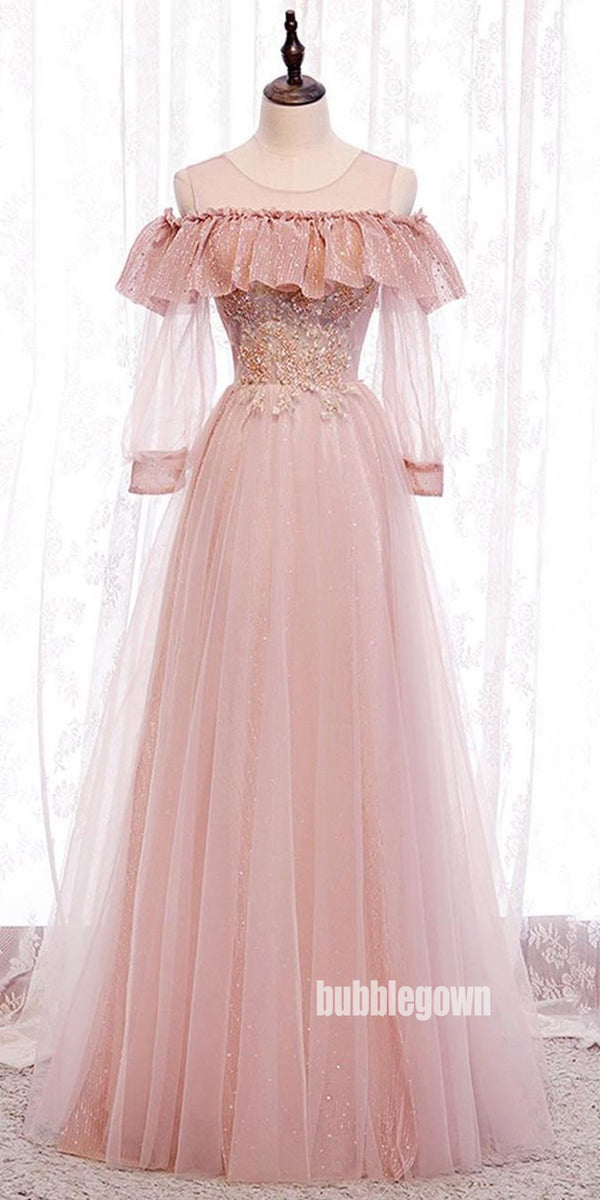 Pink Princess Long Sleeves Tulle Prom Dress  FP1194