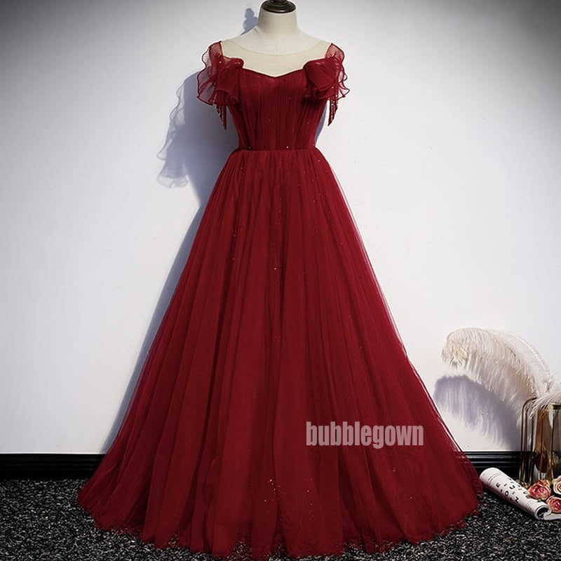 Elegant Red A-line Sleeveless Tulle Prom Dress  FP1195