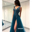 Sexy Navy-blue A-line Split Side Long Prom Dress  FP1198