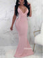 Sexy Pink V-neck Mermaid Long Prom Dress  FP1199