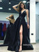 Sexy Black V-neck Side Split Long Prom Dress  FP1200
