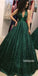 Sexy Dazzling Green V-neck Long Prom Dress  FP1201