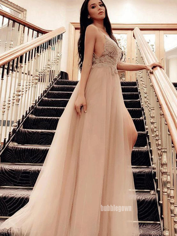 Elegant V-neck Spaghetti Strap Tulle Long Prom Dress  FP1204