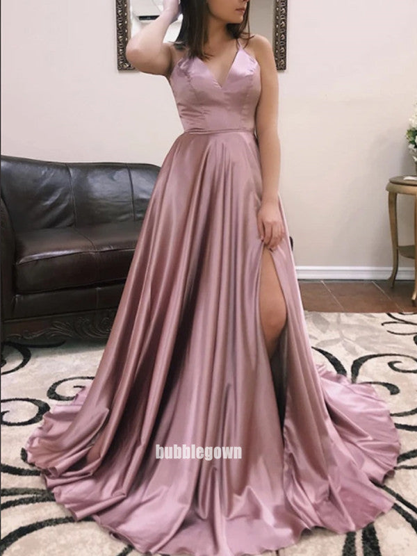 Elegant V-neck Side Split Stain Long Prom Dresses FP1207