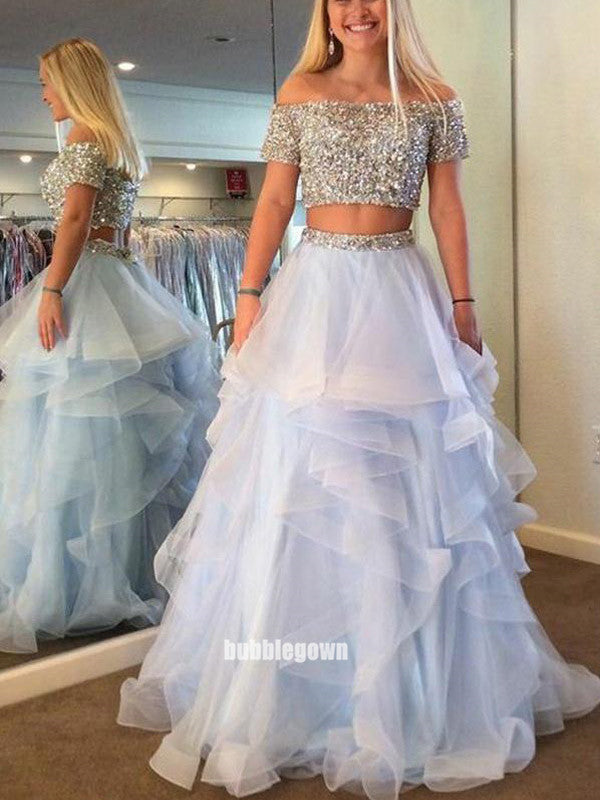 Two Pieces Sabrina Sequins Tulle Prom Dresses FP1212