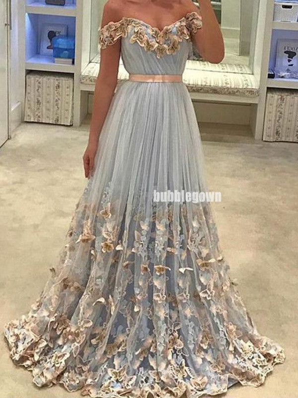 Elegant Off Shoulder Applique Tulle Prom Dresses FP1213