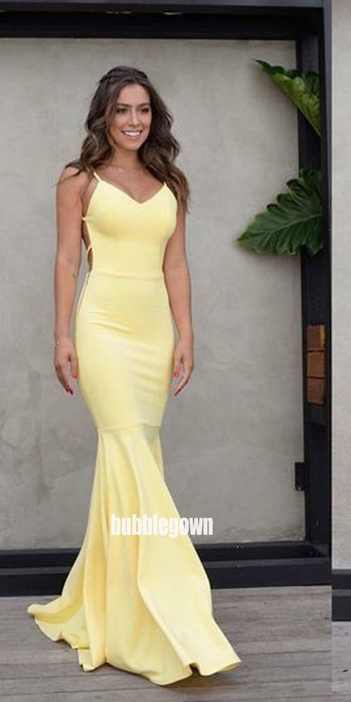 Sexy Yellow Backless Mermaid Long Prom Dresses FP1215