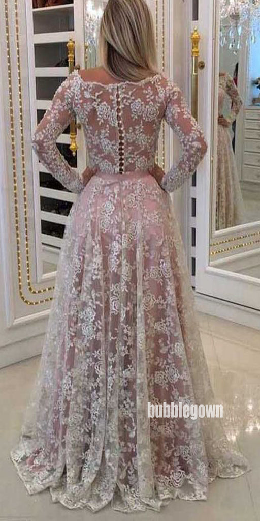 Charming Long Sleeves Full Lace Long Prom Dresses FP1217