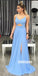 Elegant Blue V-neck Side Split Prom Dresses FP1221