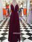 Elegant Burgundy Halter Side Split Prom Dresses FP1222