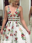 Unique V-neck Flower Prints Lace Long Prom Dresses FP1224