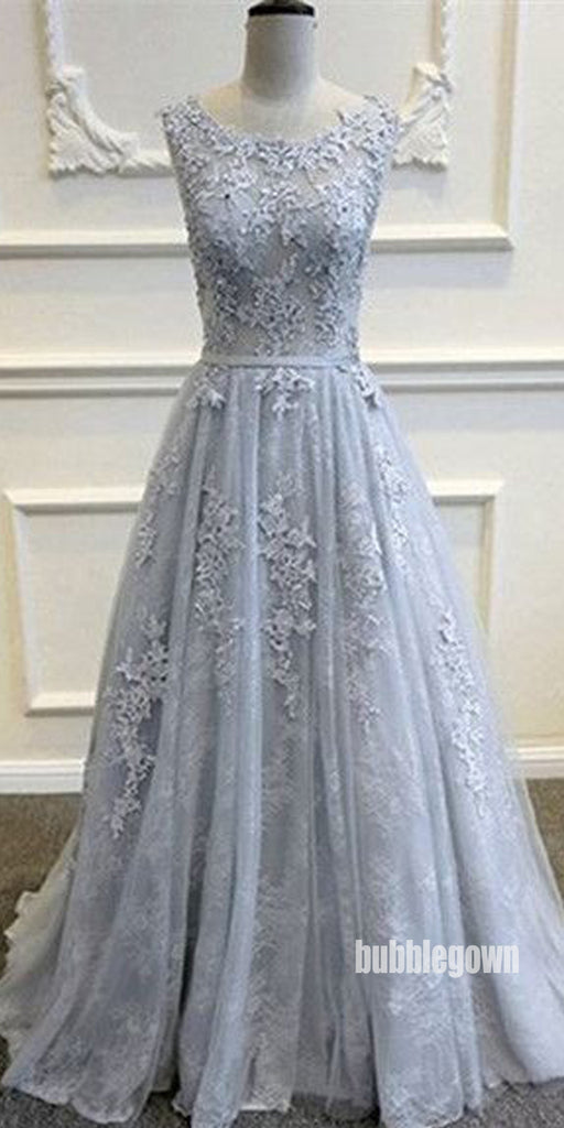 Elegant Lace Top Applique Sleeveless Long Prom Dresses FP1226