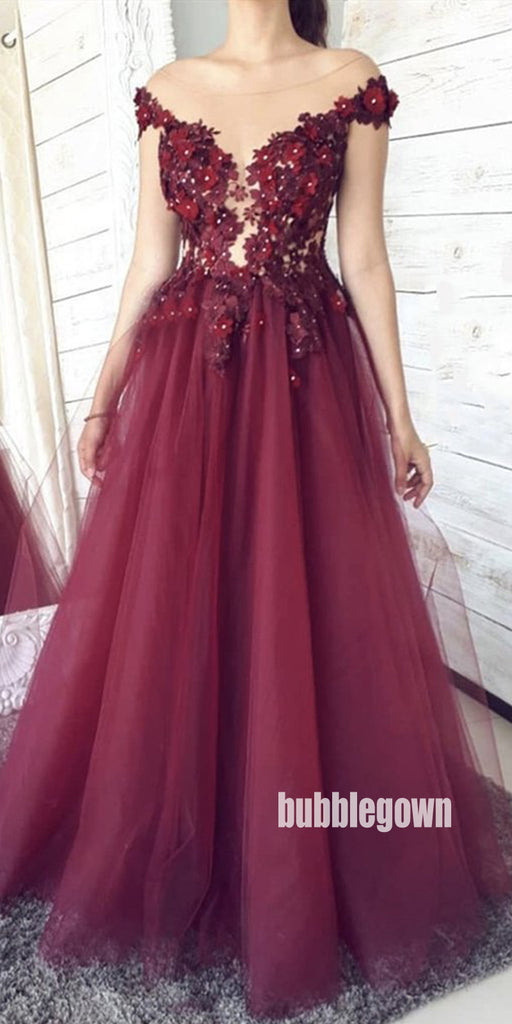 Charming Red Applique Tulle Long Prom Dresses FP1228