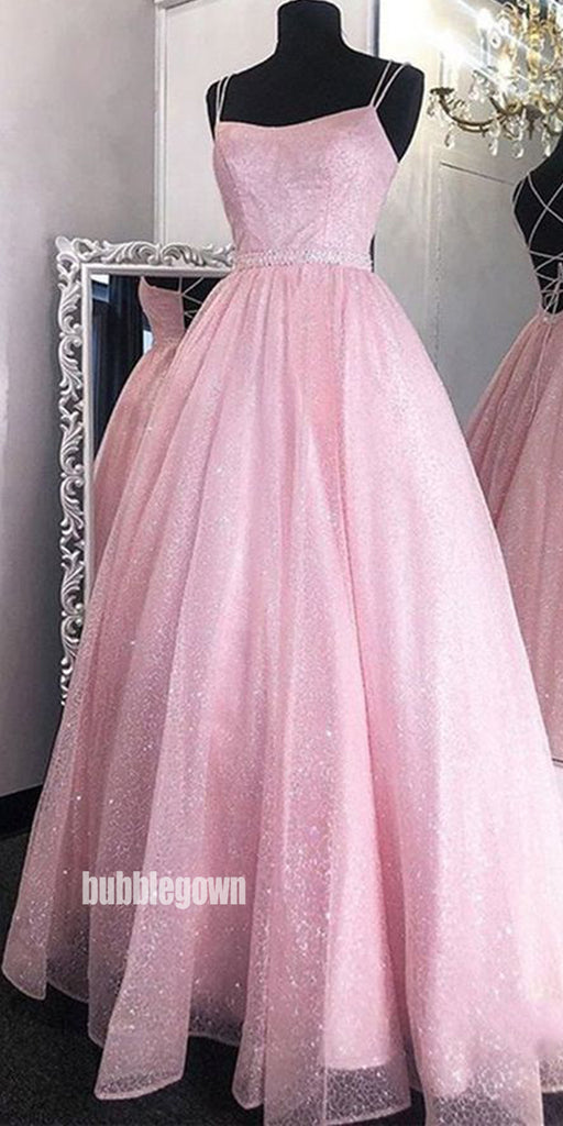 Dazzling Pink Spaghetti Straps Tulle Long Prom Dresses FP1230