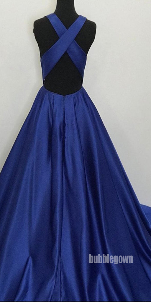 Simple Dark Blue V- neck Stain Long Prom Dresses FP1231