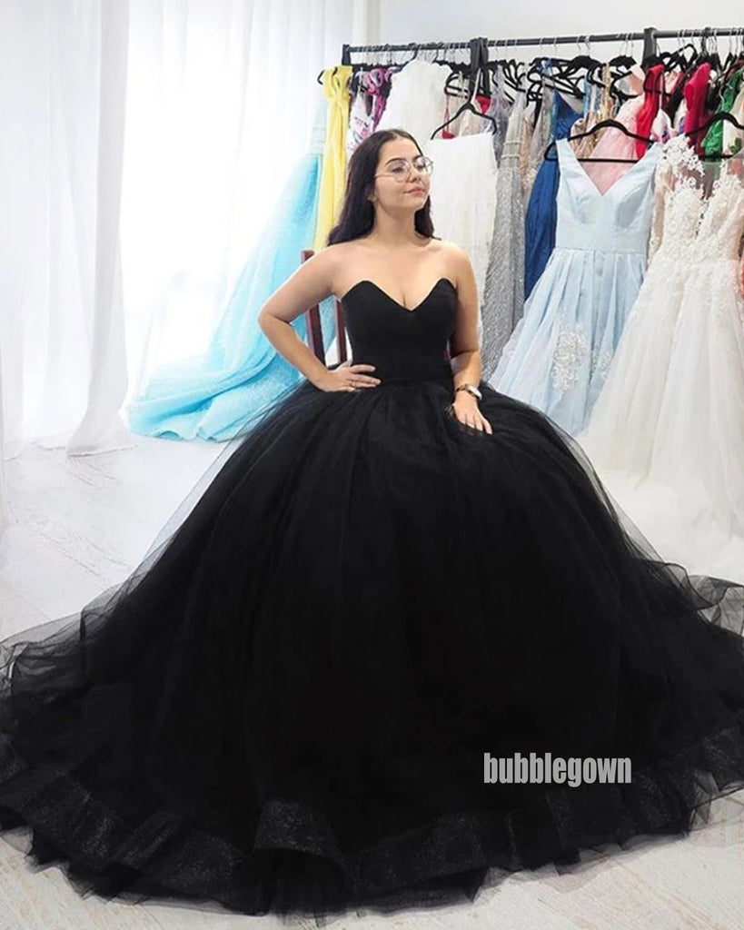 Sweetheart Black A-line Tulle Long Prom Dresses FP1233