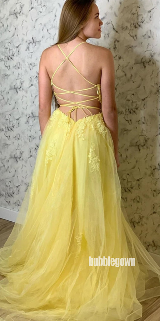 Applique Yellow A-line Tulle Long Prom Dresses FP1234