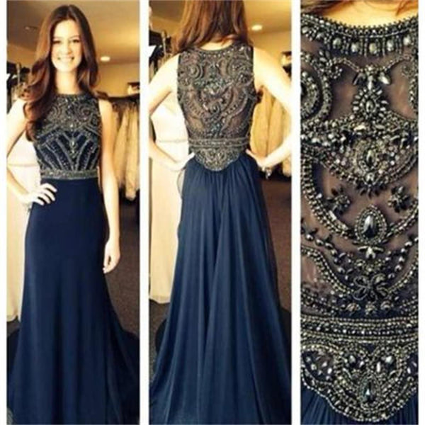 Navy Long Beaded Sleeveless Popular Long Prom Dresses, BG51153