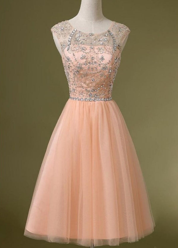 Peach Tulle Beaded Short Cute Graduation Homecoming Dresses, BG51489