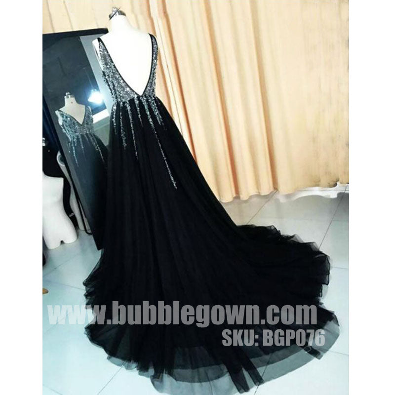 Black V Neck Popular Beaded V Back Cheap Long Prom Dress, BGP076