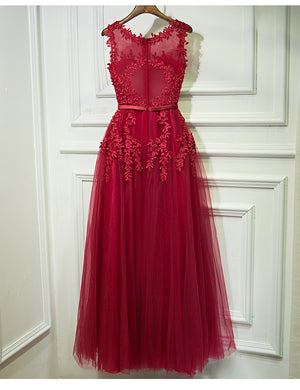 Red Formal Sleeves Tulle Applique Cheap Long Prom Dresses, BGP002