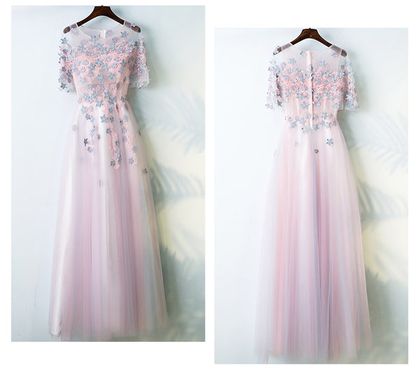 Charming Half Sleeves Tulle Applique Light Pink Cheap Long Prom Dresses, BGP021 - Bubble Gown