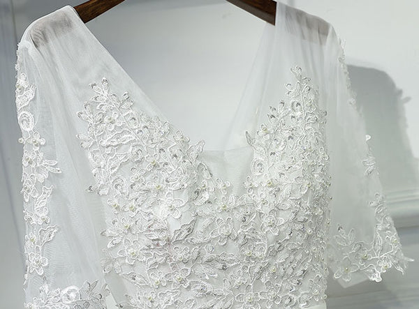 Off white half sleeves tulle applique lace up back v neck long