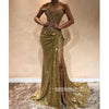 Sparkle Sequin Side Split Sexy Long Prom Dresses GDW106