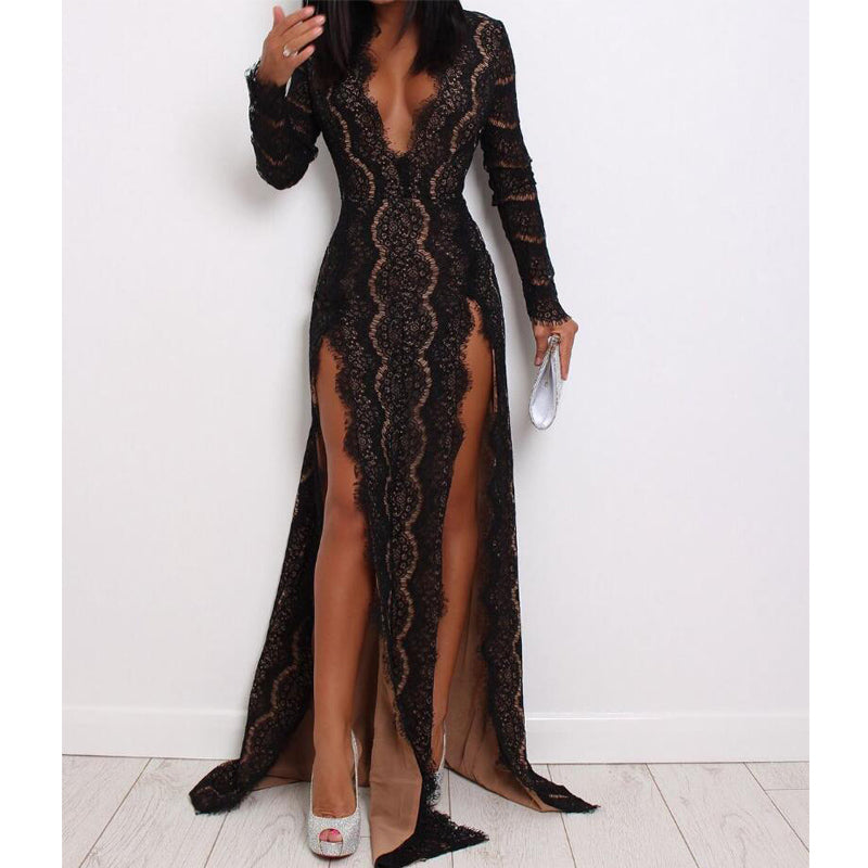 Sexy Black Lace Long Sleeves V Neck Splits Long Evening Prom Dresses, WP020