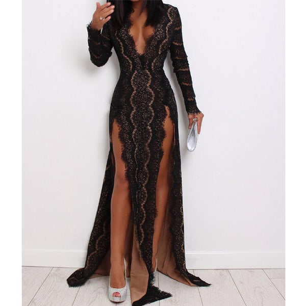 cf4ce562455 Sexy Black Lace Long Sleeves V Neck Splits Long Evening Prom Dresses ...