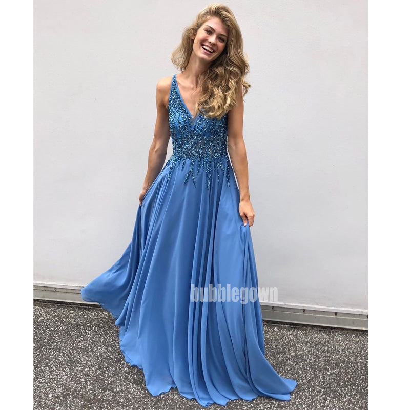 Beaded V-neck Chiffon A-line Long Prom Dresses FP1112