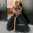 Black One Shoulder Side Slit Applique Long Prom Dresses GDW107