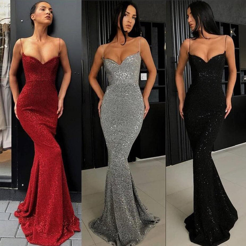 Spaghetti Strap Mermaid Sexy Popular Long Evening Prom Dresses, WP019