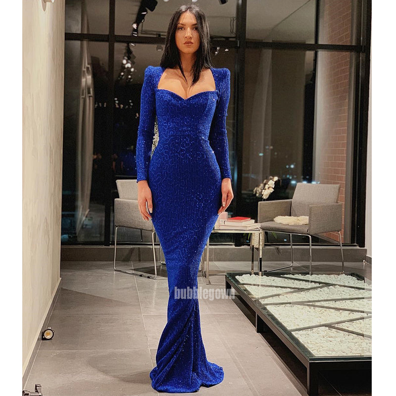 Royal Blue Long Sleeves Mermaid Long Prom Dresses GDW108