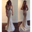 Popular V Neck Mermaid Open Back Long Evening Prom Dresses, WP018