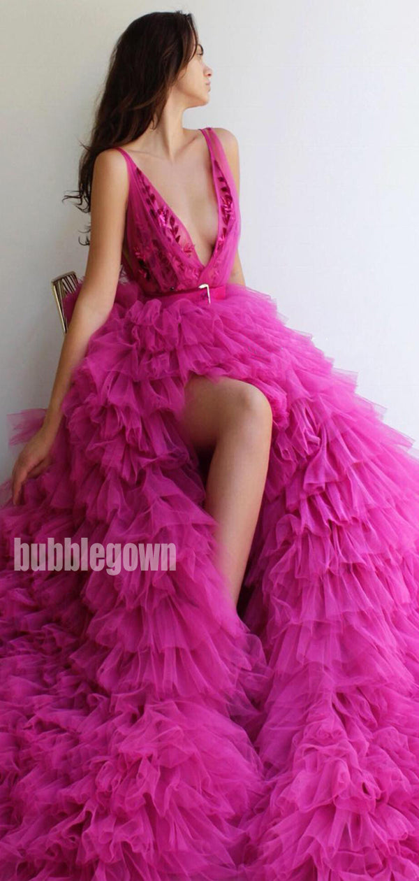 V-neck Side Split Tulle A-line Long Prom Dresses FP1122
